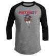 Load image into Gallery viewer, Print Brains Mens 3/4 Sleeve T-Shirt Augusta Colorblock Raglan Jersey / Heather Gray/Black / S Charging Patriot Colorblock Raglan Jersey (16 Variants)