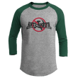 Load image into Gallery viewer, Print Brains Mens 3/4 Sleeve T-Shirt Augusta Colorblock Raglan Jersey / Heather Gray/Forest Green / S Anti-Antifa Black Text No Hammer & Sickle Raglan Jersey (16 Variants)