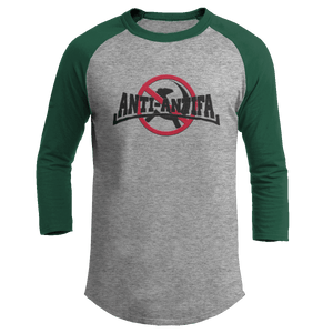 Print Brains Mens 3/4 Sleeve T-Shirt Augusta Colorblock Raglan Jersey / Heather Gray/Forest Green / S Anti-Antifa Black Text No Hammer & Sickle Raglan Jersey (16 Variants)