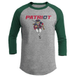 Load image into Gallery viewer, Print Brains Mens 3/4 Sleeve T-Shirt Augusta Colorblock Raglan Jersey / Heather Gray/Forest Green / S Charging Patriot Colorblock Raglan Jersey (16 Variants)