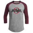 Load image into Gallery viewer, Print Brains Mens 3/4 Sleeve T-Shirt Augusta Colorblock Raglan Jersey / Heather Gray/Maroon / S Anti-Antifa Black Text No Hammer & Sickle Raglan Jersey (16 Variants)