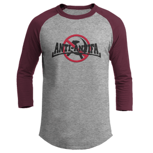 Print Brains Mens 3/4 Sleeve T-Shirt Augusta Colorblock Raglan Jersey / Heather Gray/Maroon / S Anti-Antifa Black Text No Hammer & Sickle Raglan Jersey (16 Variants)