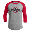 Load image into Gallery viewer, Print Brains Mens 3/4 Sleeve T-Shirt Augusta Colorblock Raglan Jersey / Heather Gray/Red / S Anti-Antifa Black Text No Hammer & Sickle Raglan Jersey (16 Variants)
