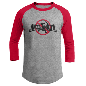 Print Brains Mens 3/4 Sleeve T-Shirt Augusta Colorblock Raglan Jersey / Heather Gray/Red / S Anti-Antifa Black Text No Hammer & Sickle Raglan Jersey (16 Variants)