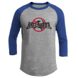 Load image into Gallery viewer, Print Brains Mens 3/4 Sleeve T-Shirt Augusta Colorblock Raglan Jersey / Heather Gray/Royal Blue / S Anti-Antifa Black Text No Hammer & Sickle Raglan Jersey (16 Variants)