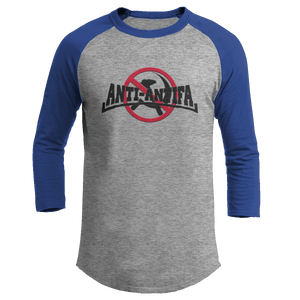 Print Brains Mens 3/4 Sleeve T-Shirt Augusta Colorblock Raglan Jersey / Heather Gray/Royal Blue / S Anti-Antifa Black Text No Hammer & Sickle Raglan Jersey (16 Variants)