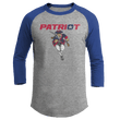 Load image into Gallery viewer, Print Brains Mens 3/4 Sleeve T-Shirt Augusta Colorblock Raglan Jersey / Heather Gray/Royal Blue / S Charging Patriot Colorblock Raglan Jersey (16 Variants)