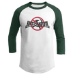 Load image into Gallery viewer, Print Brains Mens 3/4 Sleeve T-Shirt Augusta Colorblock Raglan Jersey / White/Forest Green / S Anti-Antifa Black Text No Hammer & Sickle Raglan Jersey (16 Variants)