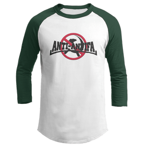 Print Brains Mens 3/4 Sleeve T-Shirt Augusta Colorblock Raglan Jersey / White/Forest Green / S Anti-Antifa Black Text No Hammer & Sickle Raglan Jersey (16 Variants)