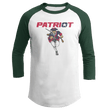 Load image into Gallery viewer, Print Brains Mens 3/4 Sleeve T-Shirt Augusta Colorblock Raglan Jersey / White/Forest Green / S Charging Patriot Colorblock Raglan Jersey (16 Variants)