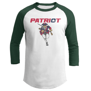 Print Brains Mens 3/4 Sleeve T-Shirt Augusta Colorblock Raglan Jersey / White/Forest Green / S Charging Patriot Colorblock Raglan Jersey (16 Variants)