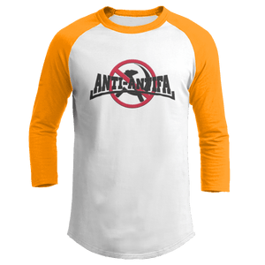 Print Brains Mens 3/4 Sleeve T-Shirt Augusta Colorblock Raglan Jersey / White/Gold / S Anti-Antifa Black Text No Hammer & Sickle Raglan Jersey (16 Variants)