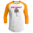 Load image into Gallery viewer, Print Brains Mens 3/4 Sleeve T-Shirt Augusta Colorblock Raglan Jersey / White/Gold / S Charging Patriot Colorblock Raglan Jersey (16 Variants)