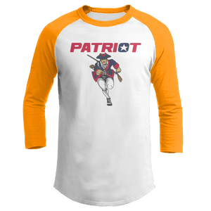 Print Brains Mens 3/4 Sleeve T-Shirt Augusta Colorblock Raglan Jersey / White/Gold / S Charging Patriot Colorblock Raglan Jersey (16 Variants)