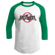 Load image into Gallery viewer, Print Brains Mens 3/4 Sleeve T-Shirt Augusta Colorblock Raglan Jersey / White/Kelly Green / S Anti-Antifa Black Text No Hammer & Sickle Raglan Jersey (16 Variants)