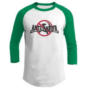 Print Brains Mens 3/4 Sleeve T-Shirt Augusta Colorblock Raglan Jersey / White/Kelly Green / S Anti-Antifa Black Text No Hammer & Sickle Raglan Jersey (16 Variants)