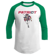 Load image into Gallery viewer, Print Brains Mens 3/4 Sleeve T-Shirt Augusta Colorblock Raglan Jersey / White/Kelly Green / S Charging Patriot Colorblock Raglan Jersey (16 Variants)