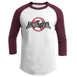 Load image into Gallery viewer, Print Brains Mens 3/4 Sleeve T-Shirt Augusta Colorblock Raglan Jersey / White/Maroon / S Anti-Antifa Black Text No Hammer & Sickle Raglan Jersey (16 Variants)