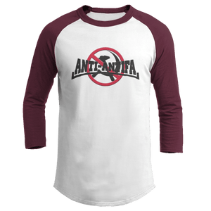 Print Brains Mens 3/4 Sleeve T-Shirt Augusta Colorblock Raglan Jersey / White/Maroon / S Anti-Antifa Black Text No Hammer & Sickle Raglan Jersey (16 Variants)