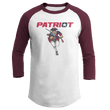 Load image into Gallery viewer, Print Brains Mens 3/4 Sleeve T-Shirt Augusta Colorblock Raglan Jersey / White/Maroon / S Charging Patriot Colorblock Raglan Jersey (16 Variants)