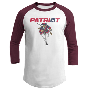 Print Brains Mens 3/4 Sleeve T-Shirt Augusta Colorblock Raglan Jersey / White/Maroon / S Charging Patriot Colorblock Raglan Jersey (16 Variants)