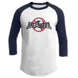 Load image into Gallery viewer, Print Brains Mens 3/4 Sleeve T-Shirt Augusta Colorblock Raglan Jersey / White/Navy / S Anti-Antifa Black Text No Hammer & Sickle Raglan Jersey (16 Variants)