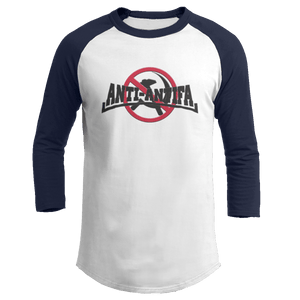 Print Brains Mens 3/4 Sleeve T-Shirt Augusta Colorblock Raglan Jersey / White/Navy / S Anti-Antifa Black Text No Hammer & Sickle Raglan Jersey (16 Variants)