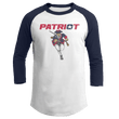 Load image into Gallery viewer, Print Brains Mens 3/4 Sleeve T-Shirt Augusta Colorblock Raglan Jersey / White/Navy / S Charging Patriot Colorblock Raglan Jersey (16 Variants)