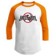 Load image into Gallery viewer, Print Brains Mens 3/4 Sleeve T-Shirt Augusta Colorblock Raglan Jersey / White/Orange / S Anti-Antifa Black Text No Hammer & Sickle Raglan Jersey (16 Variants)