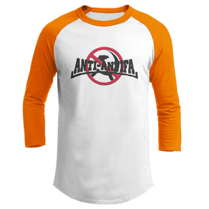 Print Brains Mens 3/4 Sleeve T-Shirt Augusta Colorblock Raglan Jersey / White/Orange / S Anti-Antifa Black Text No Hammer & Sickle Raglan Jersey (16 Variants)