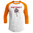 Load image into Gallery viewer, Print Brains Mens 3/4 Sleeve T-Shirt Augusta Colorblock Raglan Jersey / White/Orange / S Charging Patriot Colorblock Raglan Jersey (16 Variants)