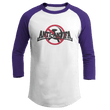 Load image into Gallery viewer, Print Brains Mens 3/4 Sleeve T-Shirt Augusta Colorblock Raglan Jersey / White/Purple / S Anti-Antifa Black Text No Hammer & Sickle Raglan Jersey (16 Variants)