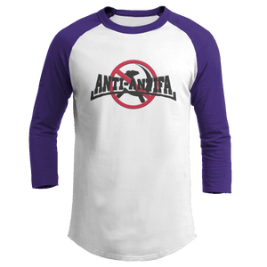Print Brains Mens 3/4 Sleeve T-Shirt Augusta Colorblock Raglan Jersey / White/Purple / S Anti-Antifa Black Text No Hammer & Sickle Raglan Jersey (16 Variants)