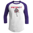 Load image into Gallery viewer, Print Brains Mens 3/4 Sleeve T-Shirt Augusta Colorblock Raglan Jersey / White/Purple / S Charging Patriot Colorblock Raglan Jersey (16 Variants)