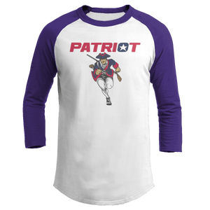 Print Brains Mens 3/4 Sleeve T-Shirt Augusta Colorblock Raglan Jersey / White/Purple / S Charging Patriot Colorblock Raglan Jersey (16 Variants)
