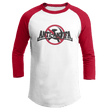 Load image into Gallery viewer, Print Brains Mens 3/4 Sleeve T-Shirt Augusta Colorblock Raglan Jersey / White/Red / S Anti-Antifa Black Text No Hammer & Sickle Raglan Jersey (16 Variants)