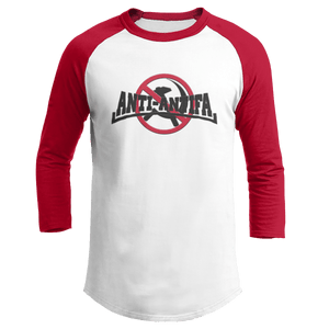 Print Brains Mens 3/4 Sleeve T-Shirt Augusta Colorblock Raglan Jersey / White/Red / S Anti-Antifa Black Text No Hammer & Sickle Raglan Jersey (16 Variants)