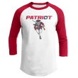 Load image into Gallery viewer, Print Brains Mens 3/4 Sleeve T-Shirt Augusta Colorblock Raglan Jersey / White/Red / S Charging Patriot Colorblock Raglan Jersey (16 Variants)