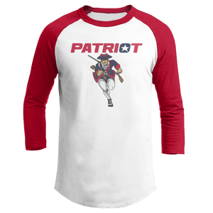 Print Brains Mens 3/4 Sleeve T-Shirt Augusta Colorblock Raglan Jersey / White/Red / S Charging Patriot Colorblock Raglan Jersey (16 Variants)