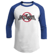 Load image into Gallery viewer, Print Brains Mens 3/4 Sleeve T-Shirt Augusta Colorblock Raglan Jersey / White/Royal Blue / S Anti-Antifa Black Text No Hammer & Sickle Raglan Jersey (16 Variants)