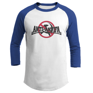 Print Brains Mens 3/4 Sleeve T-Shirt Augusta Colorblock Raglan Jersey / White/Royal Blue / S Anti-Antifa Black Text No Hammer & Sickle Raglan Jersey (16 Variants)