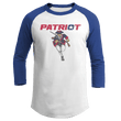 Load image into Gallery viewer, Print Brains Mens 3/4 Sleeve T-Shirt Augusta Colorblock Raglan Jersey / White/Royal Blue / S Charging Patriot Colorblock Raglan Jersey (16 Variants)