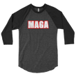 Load image into Gallery viewer, American Patriots Apparel Mens 3/4 Sleeve T-Shirt Heather Black/Black / XS Poly-Cotton 3/4 Sleeve MAGA Raglan Shirt (3 Variants)