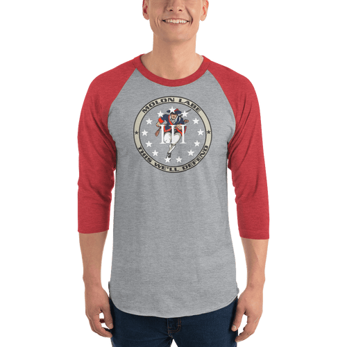 American Patriots Apparel Mens 3/4 Sleeve T-Shirt Heather Grey/Heather Red / XS 3/4 Sleeve III% Molon Labe Patriot Raglan Tee (9 Variants)