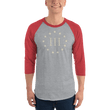Load image into Gallery viewer, American Patriots Apparel Mens 3/4 Sleeve T-Shirt Heather Grey/Heather Red / XS 3/4 Sleeve III% Raglan Tee (9 Variants)