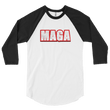 Load image into Gallery viewer, American Patriots Apparel Mens 3/4 Sleeve T-Shirt White/Black / XS Poly-Cotton 3/4 Sleeve MAGA Raglan Shirt (3 Variants)