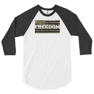 American Patriots Apparel Mens 3/4 Sleeve T-Shirt White/Heather Black / XS American Camo FREEDOM Flag On A 3/4 Sleeve Raglan Shirt (3 Variants)