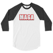 Load image into Gallery viewer, American Patriots Apparel Mens 3/4 Sleeve T-Shirt White/Heather Black / XS Poly-Cotton 3/4 Sleeve MAGA Raglan Shirt (3 Variants)