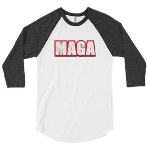 American Patriots Apparel Mens 3/4 Sleeve T-Shirt White/Heather Black / XS Poly-Cotton 3/4 Sleeve MAGA Raglan Shirt (3 Variants)