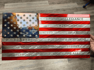 "Nashville Metal Art Metal Wall Art 30"" / Red/White/Blue Pledge of Allegiance Flag (4 Sizes)"